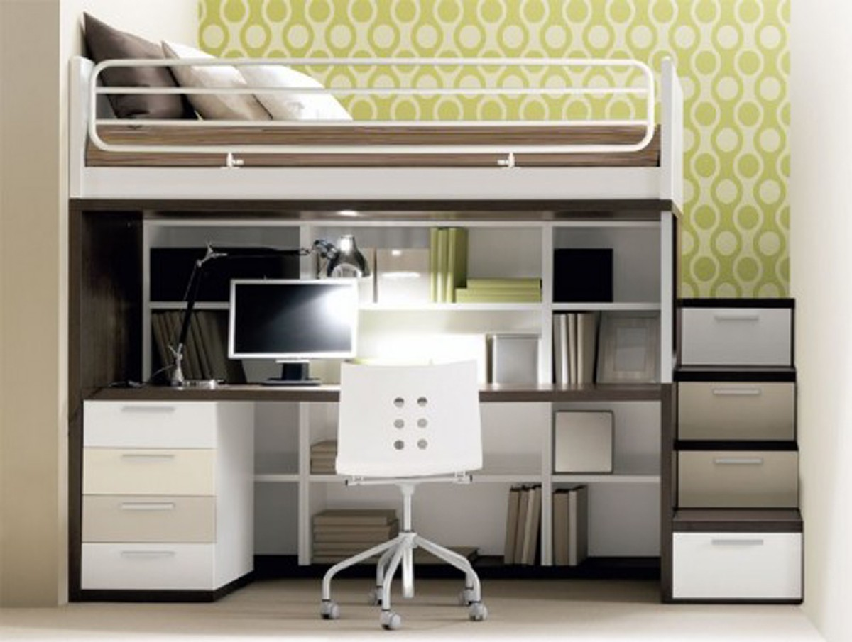 Really-cool-beds-for-a-small-room-decorating-plans-with-streamlined-desk-and-storage-with-unique-stairs-and-chair-with-dark-brown-bed-cover-and-nice-lime-green-wallpaper