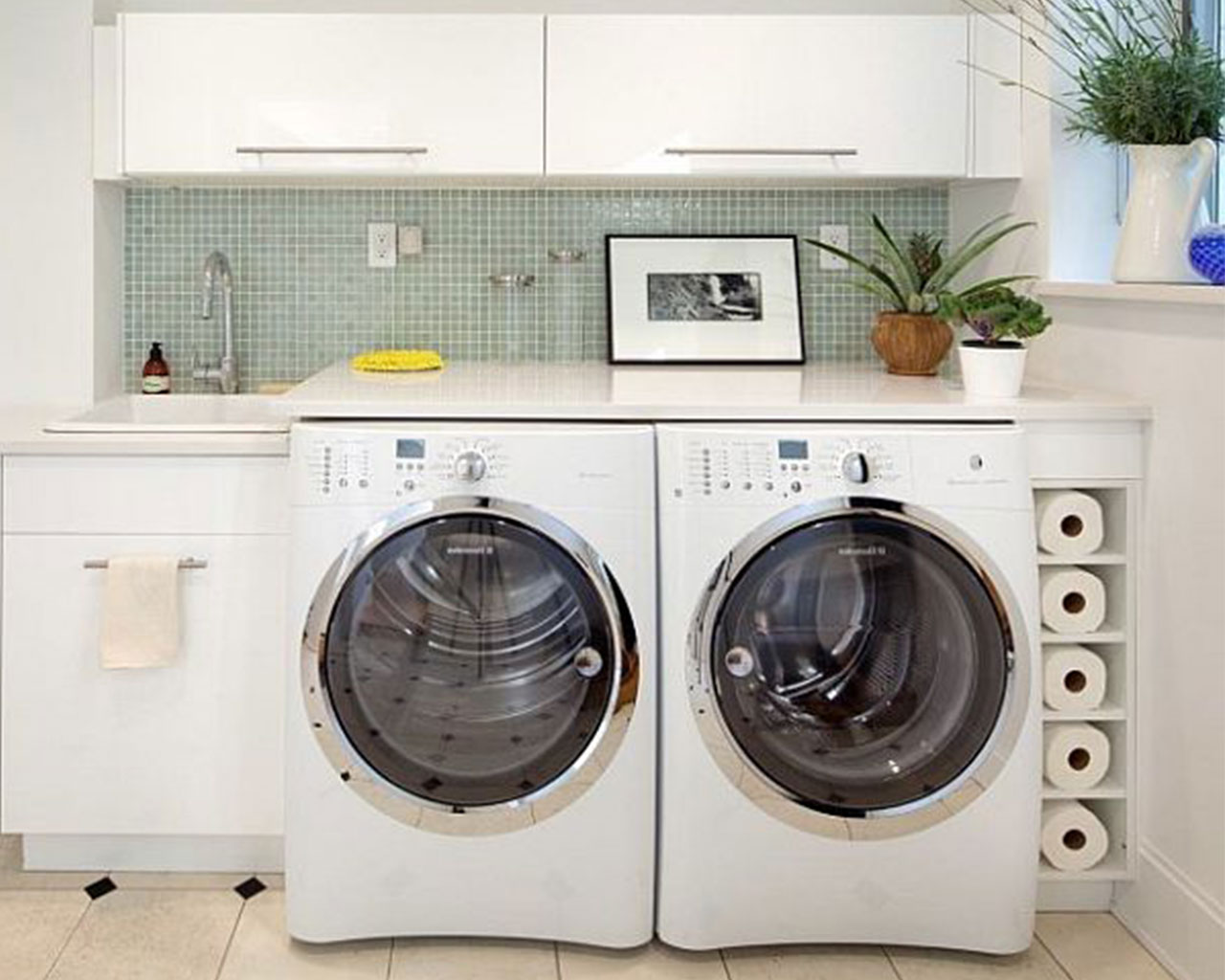 Modern-Laundry-Room-Ideas-With-Washbowl-And-White-Storage-Cool-Interior-Design-Laundry-Room-Ideas-For-Your-Inspiration