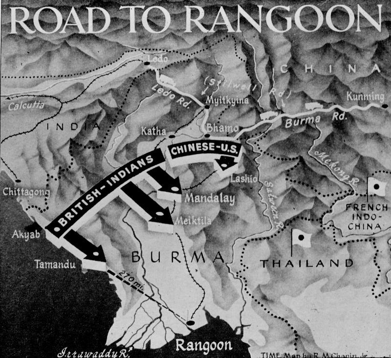 Peta pergerakan tentera British menghala ke Rangoon dari utara Burma semasa perang dunia ke-2