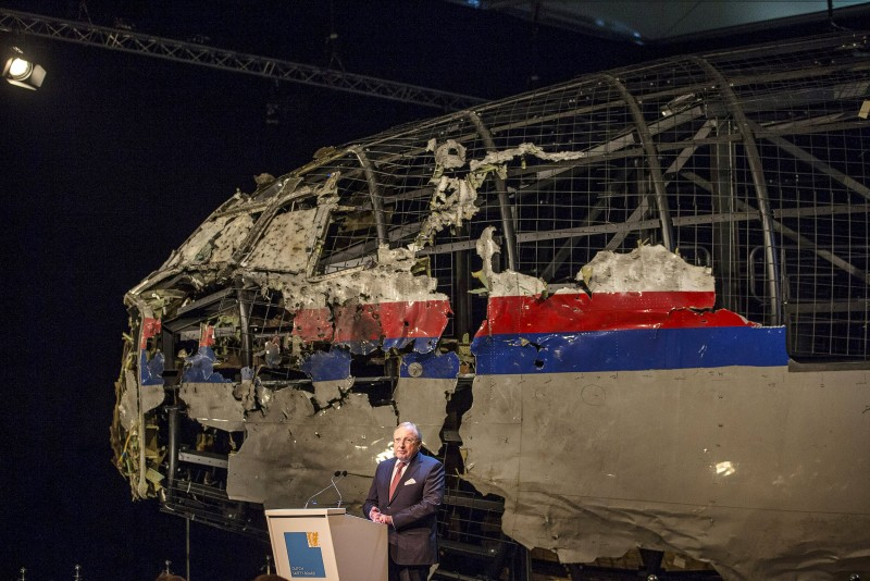 Tjibbe Joustra, chairman of the Dutch Safety Board, presents the final report into the crash of July 2014 of Malaysia Airlines flight MH17 over Ukraine in Gilze Rijen, the Netherlands