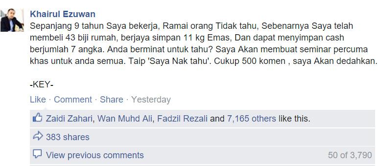 Facebook Tuan Khairul Ezuwan: Sehingga saat artikel ini ditulis pada 4 November 2015.