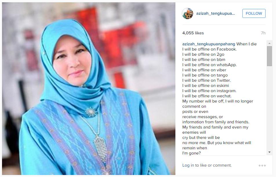 Instagram Tengku Puan Pahang Tunku Azizah Maimunah Iskandariah Sultan Iskandar