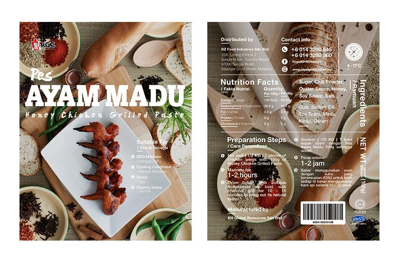 Packaging dan food stylin RGC Pes Ayam Madu oleh Husam Waksa Group yang menarik perhatian.