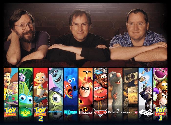 Ed Catmull, Steve Jobs, dan John Lasseter dan hasil karya syarikat itu.