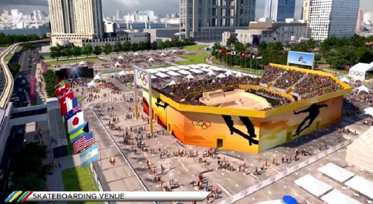 Rekaan stadium untuk acara skateboarding Olympic Tokyo 2020 nanti.