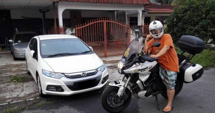 Tumpang bergambar di atas motosikal kawan sebentar.