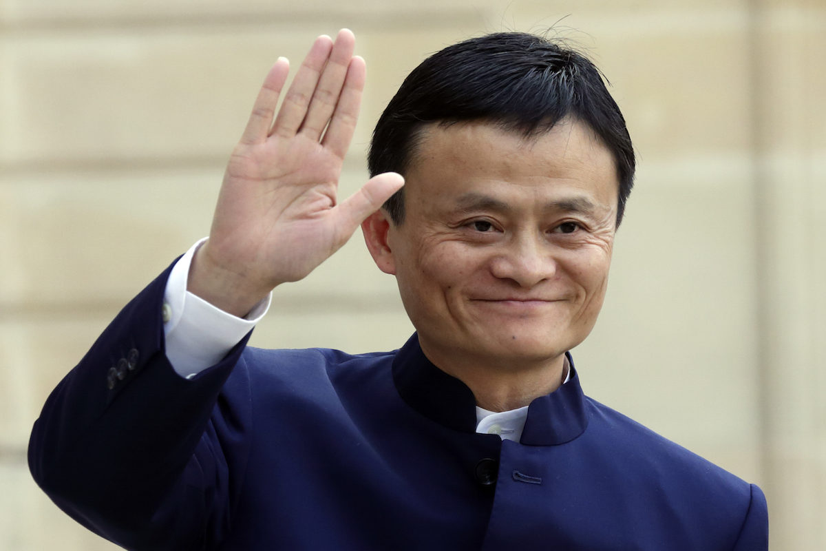 Alibaba Group founder and chairman Jack Ma arrives to attend a meeting with the French President at the Elysee Palace in Paris