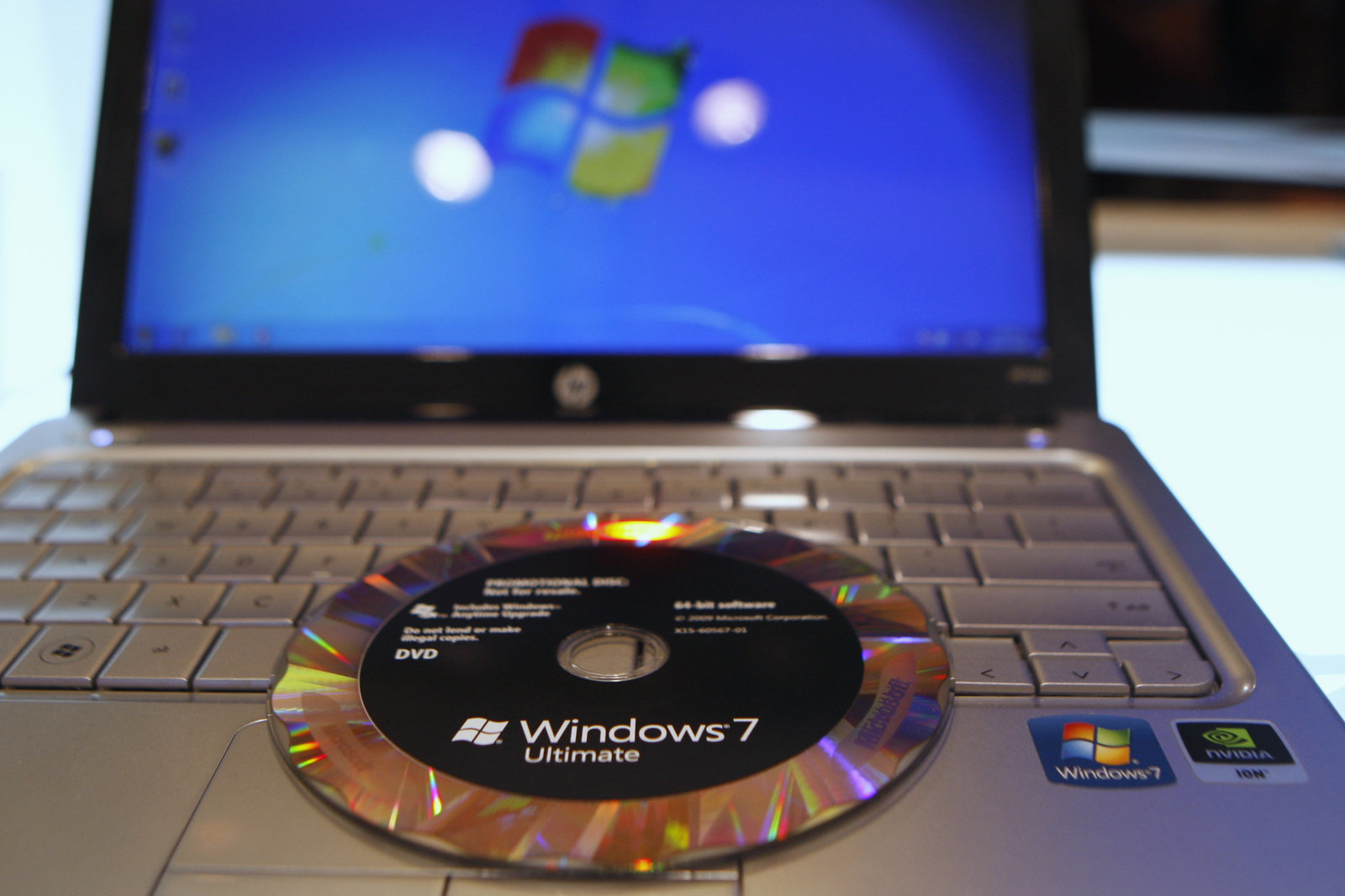 The new Windows 7 operating system installation DVD is pictured on a notebook at the Windows 7 Launch Party in New York