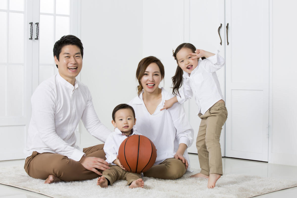 A portrait of a Happy Asian Family
