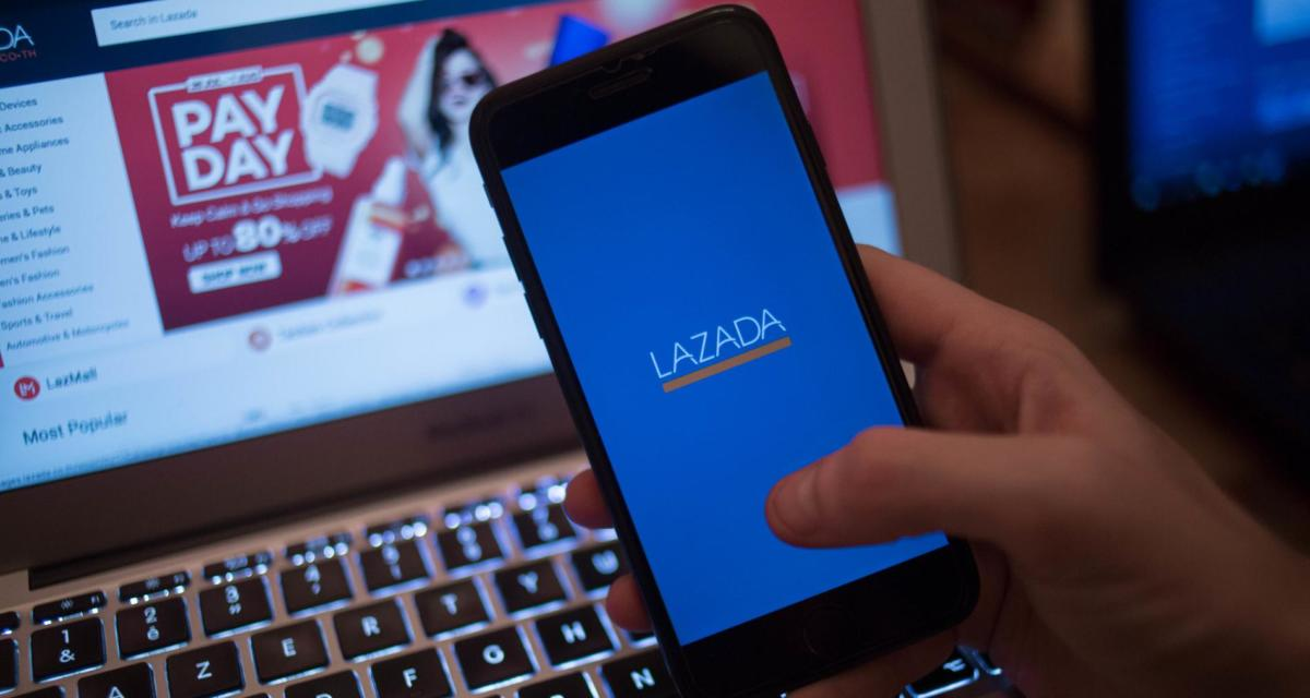 The Lazada application seen displayed on a iPhone
