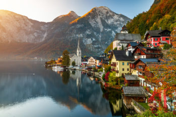 Sunrise view of famous Hallstatt mountain village with Hallstatter lake, Austria