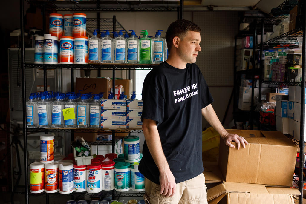 Matt Colvin, a Tennessee man who stockpiled hand sanitizer and wipes, says he has donated what he bought, outside of Chattanooga, Tenn., on Thursday, March 12, 2020. (Doug Strickland/The New York Times)