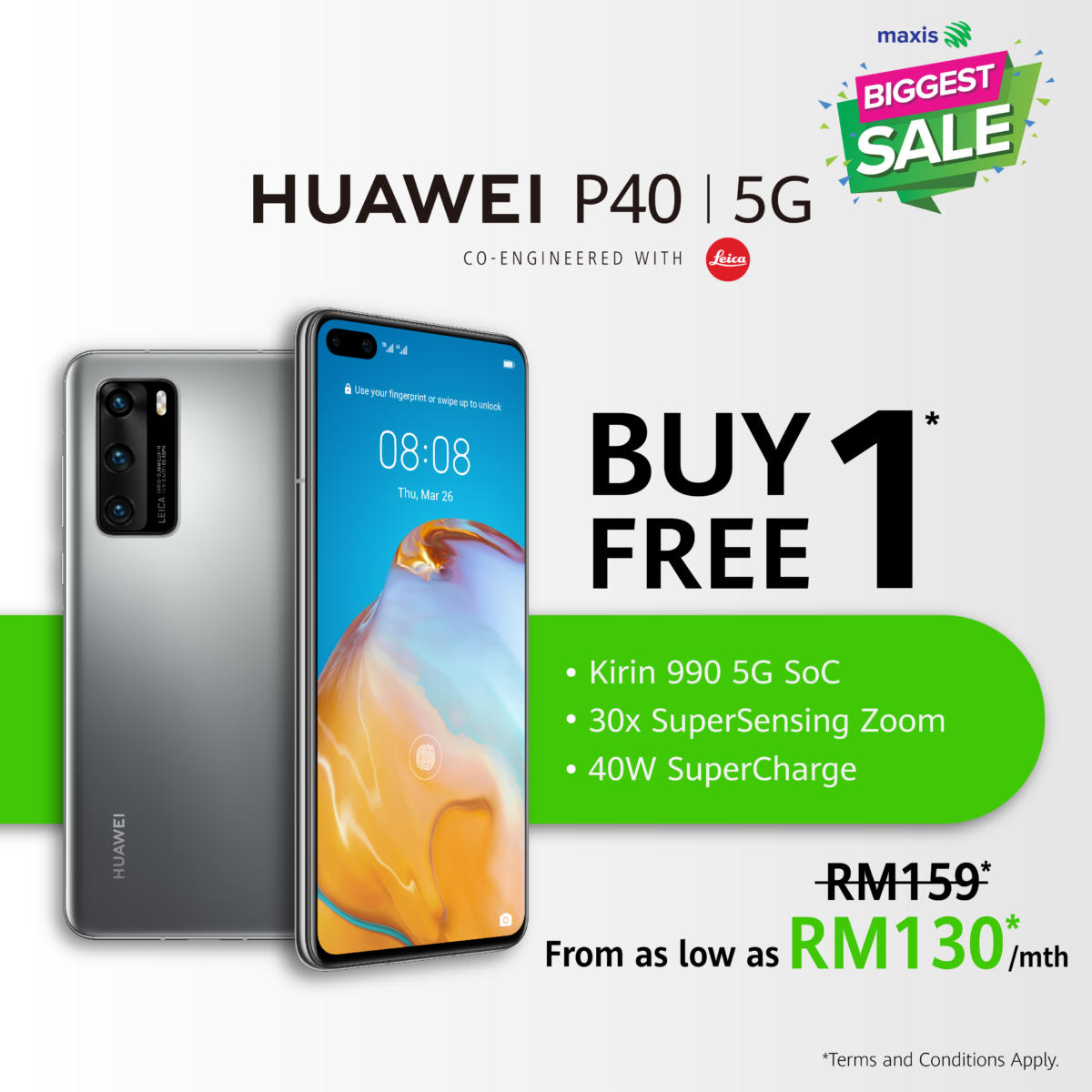 HUAWEI P40 Maxis Biggest Sale