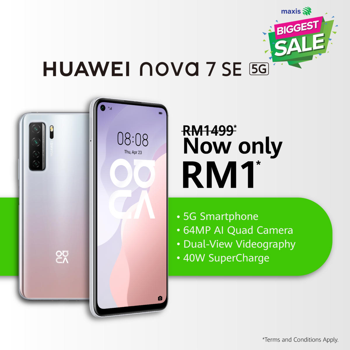 HUAWEI nova 7 SE Maxis Biggest Sale