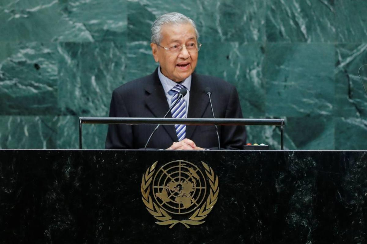 Malaysian Prime Minister Mahathir Mohamad addresses the 74th session of the United Nations General Assembly at U.N. headquarters in New York City, New York, U.S.