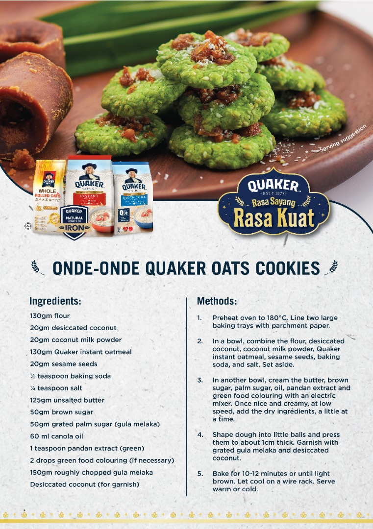 Onde-onde Quaker Oats Cookies Recipe by Chef Anis Nabilah