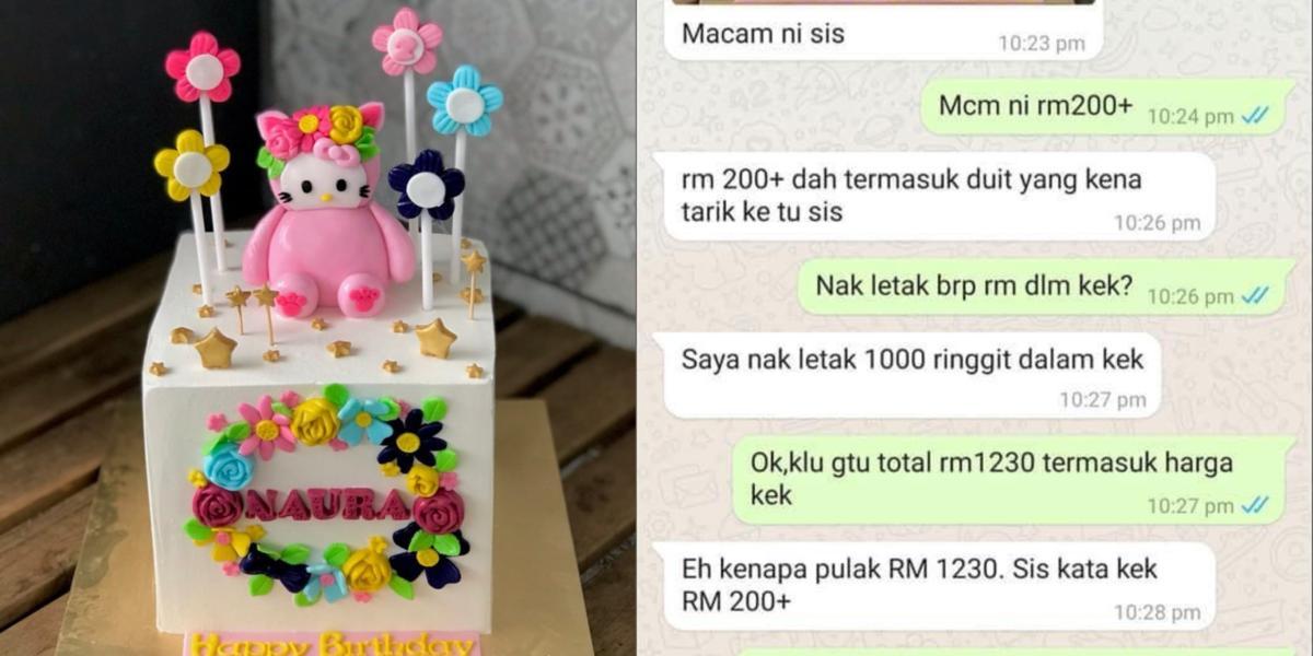 Sangka 'Duit Tarik' Sudah Termasuk Harga Kek, Perbualan Penjual Sama Pembeli Ini Buat Netizen Terhibur